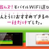激ムズ!?モバイル wifi →実はGMOとくとくBB一択だった!